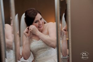 Perhaps the only normal wedding type photo I have of the bride getting ready at this stand up comic's wedding in Michigan.
