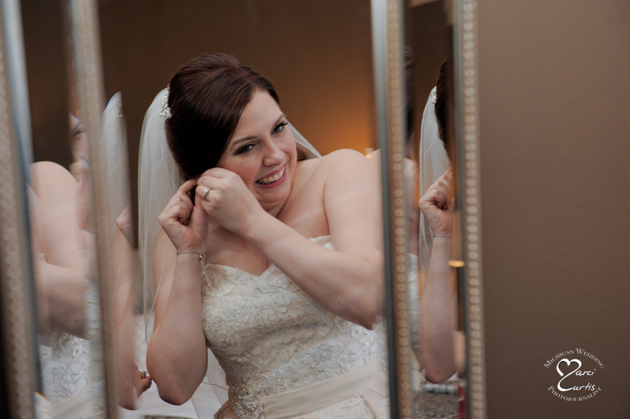 Perhaps the only normal wedding type photo I have of the bride getting ready at this stand up comic