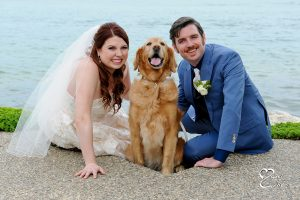 Two comedians and the bride. Yes, even their dog is funny!