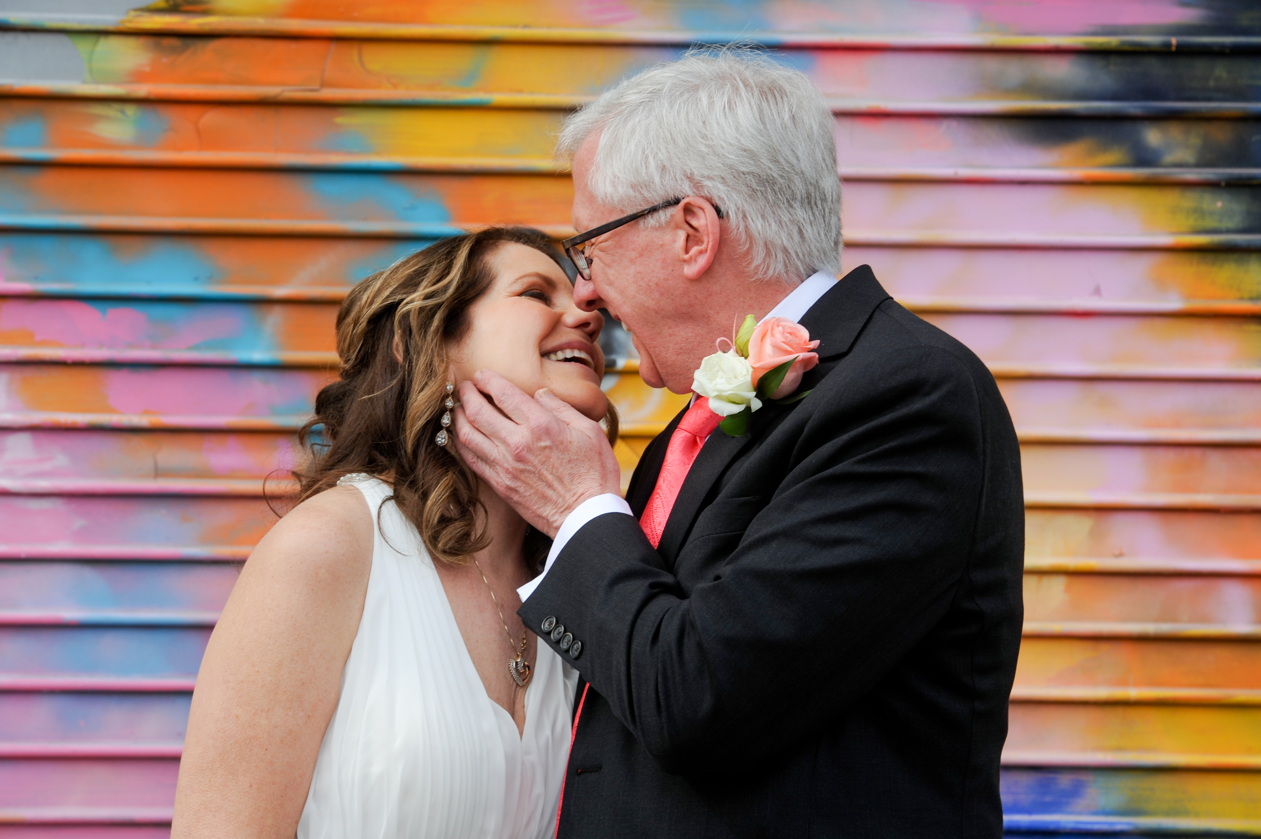 Michigan couple celebrate their second wedding after both of them lost their spouses. Photos in Detroit's Eastern Market. Photos by Marci Curtis