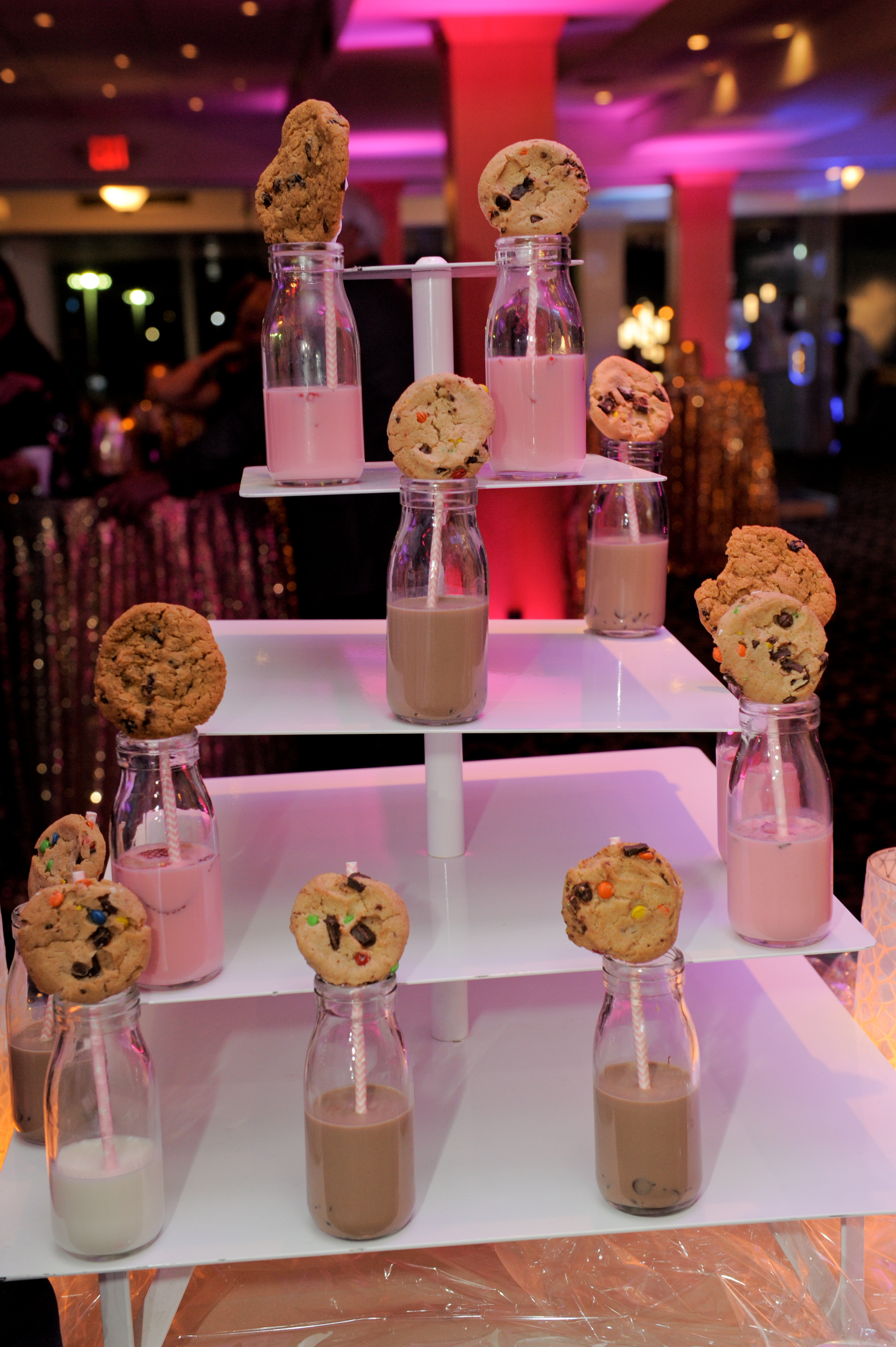 Cookies and milk were the desert at the Roostertail wedding venue downtown Detroit. Photos by Marci Curtis