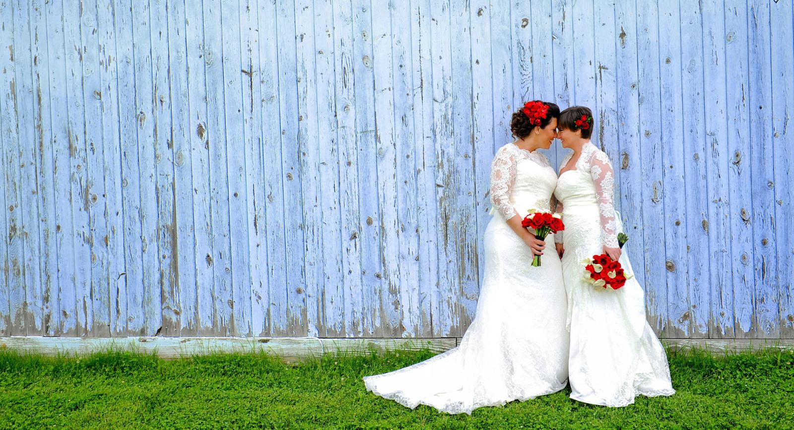 A same sex wedding couple celebrate their wedding in the Metro Detroit, Michigan area.