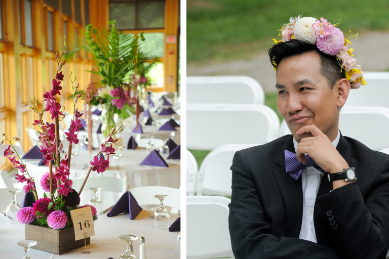 The amazing flowers created by the matron of honor's brother made the reception at at Indian Springs Metropark in White Lake, Michigan look amazing. Here he is with his sister's headpiece!