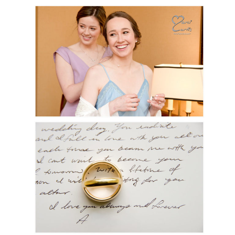 Dearborn Inn wedding preparations and a photo of rings set on top of the note the husband sent to his wife.