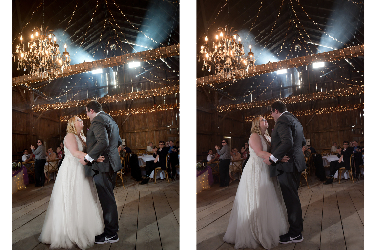 wedding photos before and after editing them.