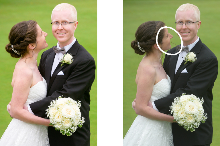 Part of a wedding photographer's job is to edit out unwanted hair mistakes which happen all the time.