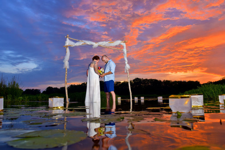 Sunset Michigan wedding in a River