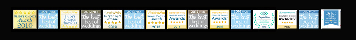 photo with all three years worth of wedding photography awards from The Knot, and wedding wire's favorite michigan wedding photographer