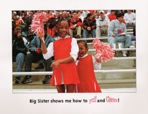 Michigan children's book author and illustrator has pages from the book big sister, little sister