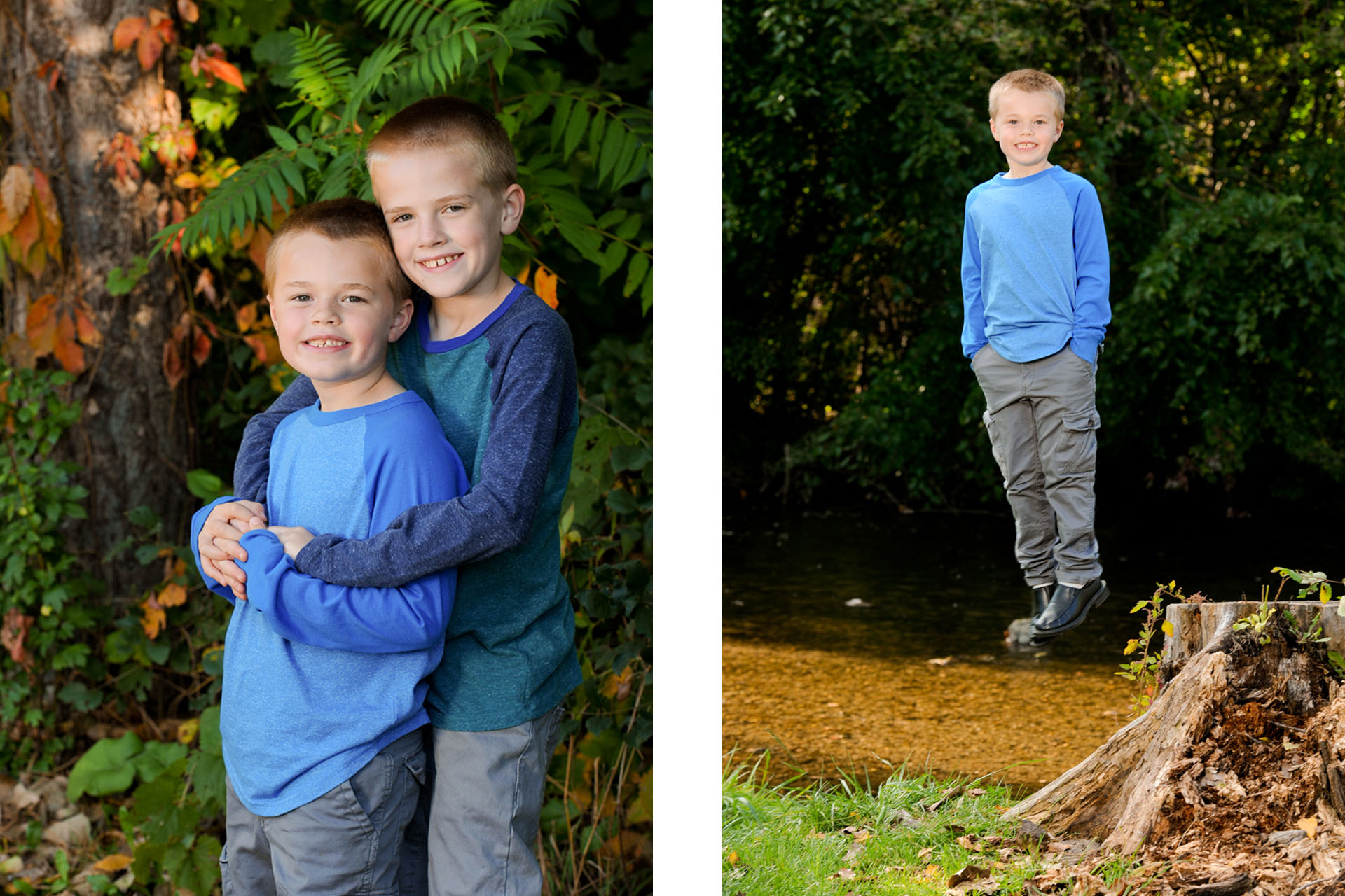 Best Detroit children photographer photographs two adorable siblings who LOVE to hug each other along with a wacky candid photo of one of the boys jumping off a log at a park in metro Detroit, Michigan.