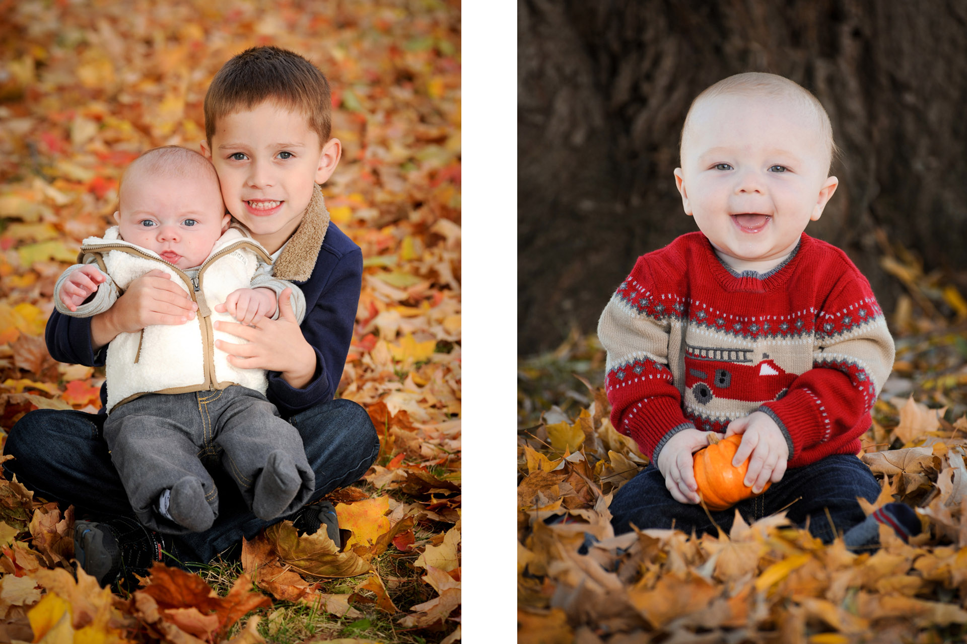 Best Detroit children photographer is happy to photograph kids enjoying the fall like these two kids photos of them enjoying the leaves in a park in metro Detroit, Michigan.