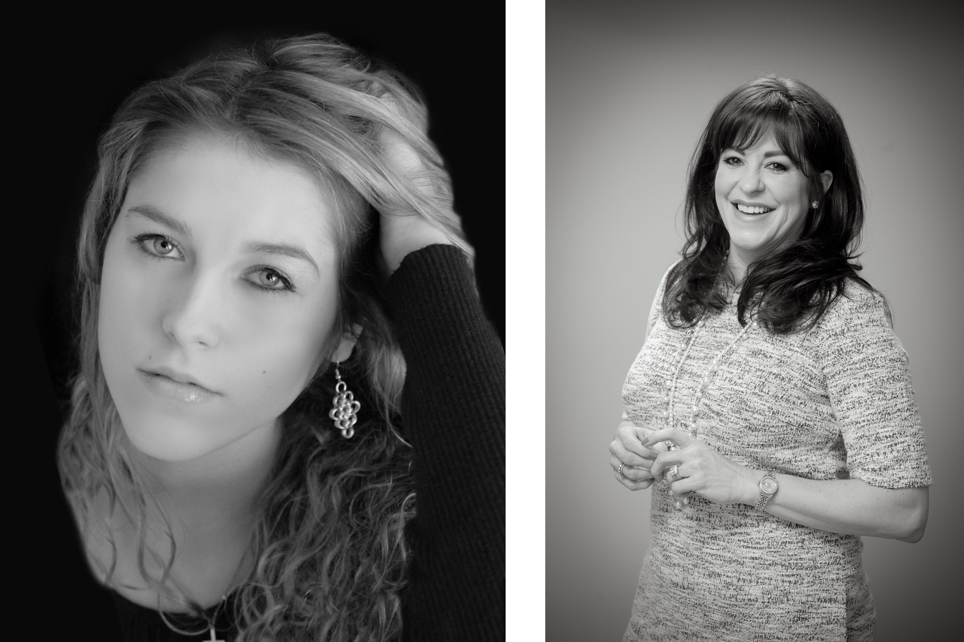 Best Detroit head shot photographer with an actor's headshot and a business woman's publicity photo both taken my Troy studio in metro Detroit, Michigan.