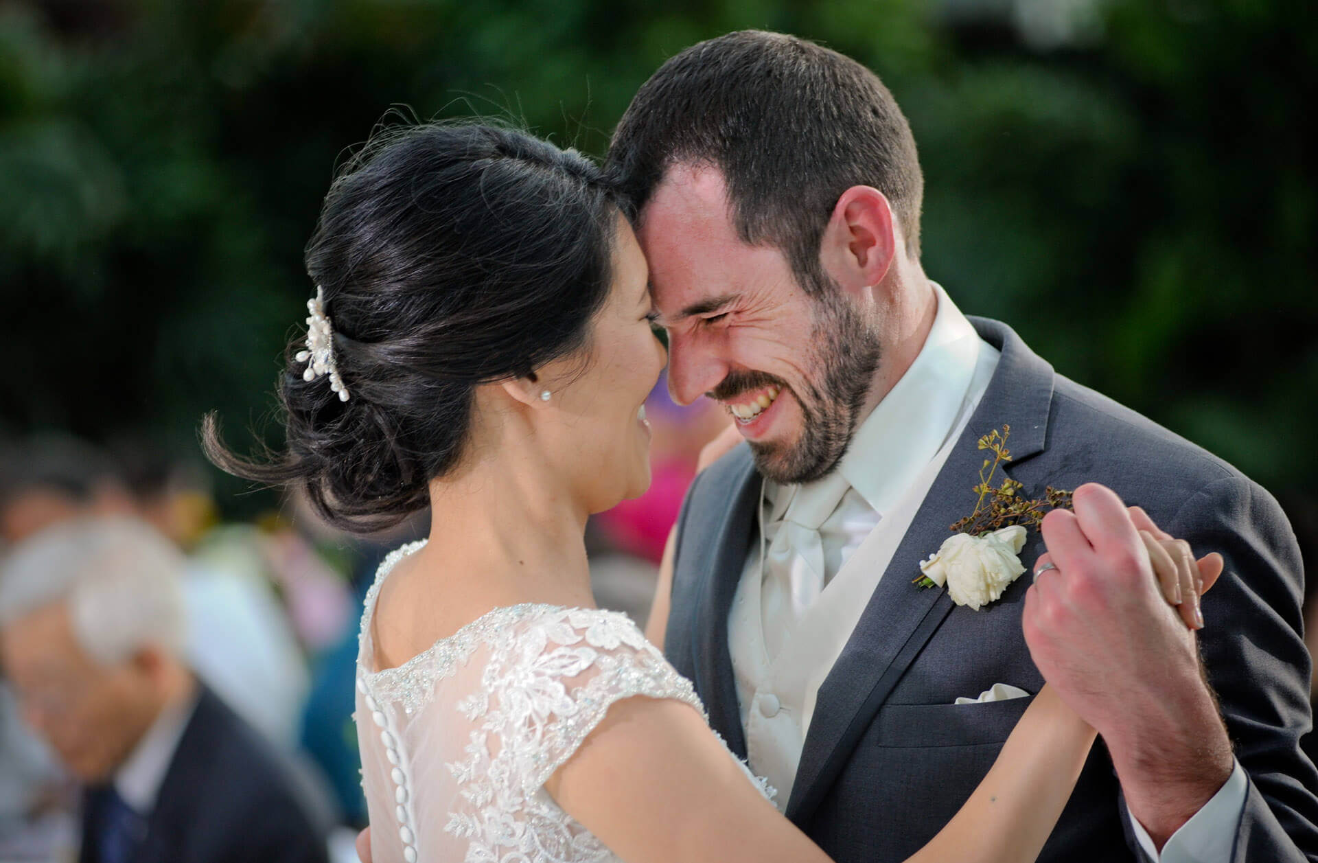 The bride and groom share a nice moment during their first dance at Planterra Conservatory in West Bloomfield, Michigan during their wedding reception.