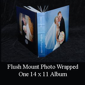 flush mount wedding photo album features photo wrapped cover.