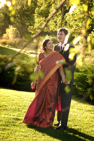 Michigan wedding photography features couples shot quickly, naturally posed with great light after a Hindu wedding ceremony at Apple Mountain in Michigan