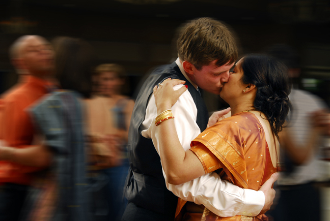 Another great shot of the bride and groom dancing at their Hindu wedding at Apple Mountain in Freeland MI