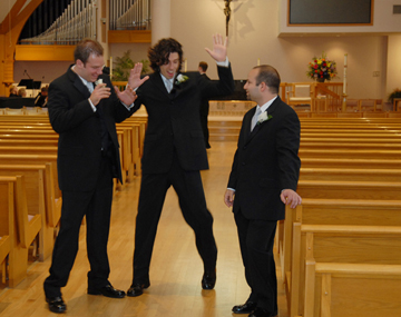 I love these fun wedding photographs of Dan taken before the ceremony. He and his Troy, Michigan groomsmen are having a blast.
