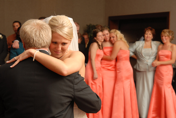 A bride dances with her father during her wedding reception in Troy MI