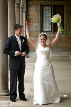 U of M bride signals touch down at her Ann Arbor wedding.