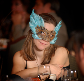 The Halloween themed wedding featured masks for guests.