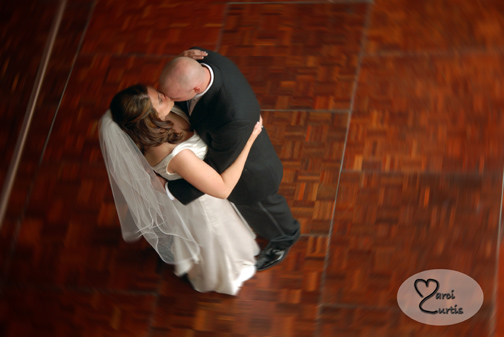 =Bride and groom dance during their reception at the Sterling Inn in Michigan
