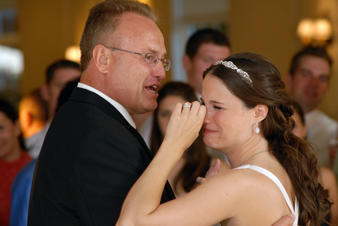 Bride tears up dancing with her father during her Lansing Michigan reception.