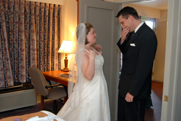 The groom tears up when he first sees his bride before walking down the aisle