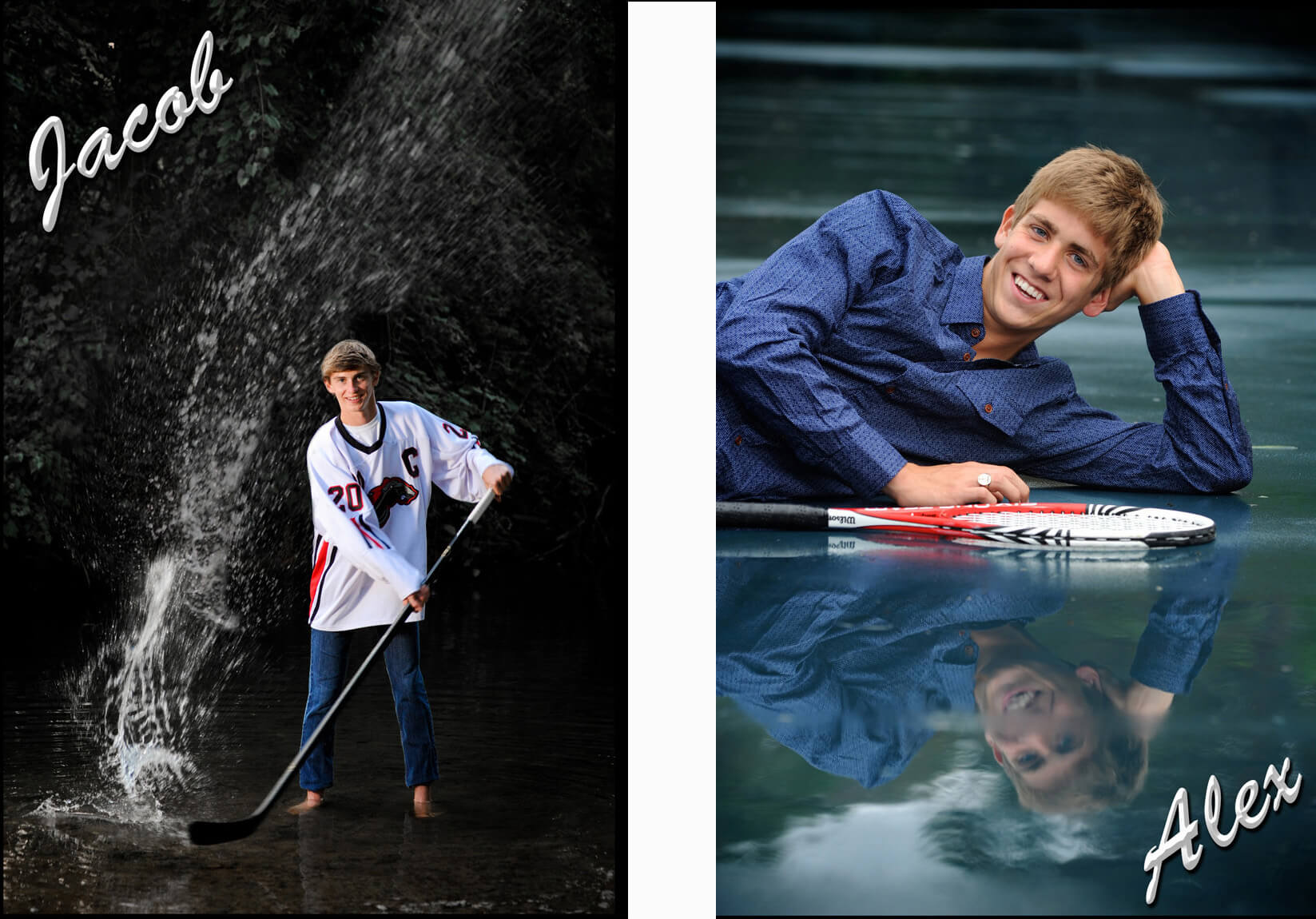 Many Michigan high school seniors want to showcase their favorite sports. I like to find new ways to shoot them that haven't been done before like playing hockey in a river or shooting tennis in the rain at Cranbrook.
