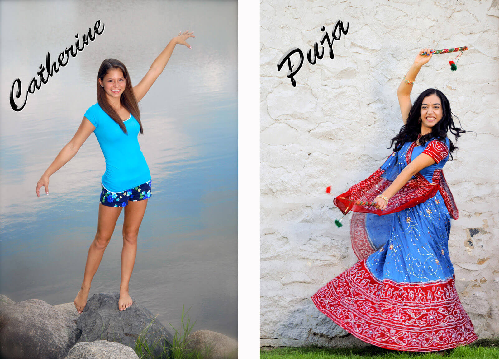 Two photos featuring Michigan seniors showcase their dancing skills on locations and out of context.