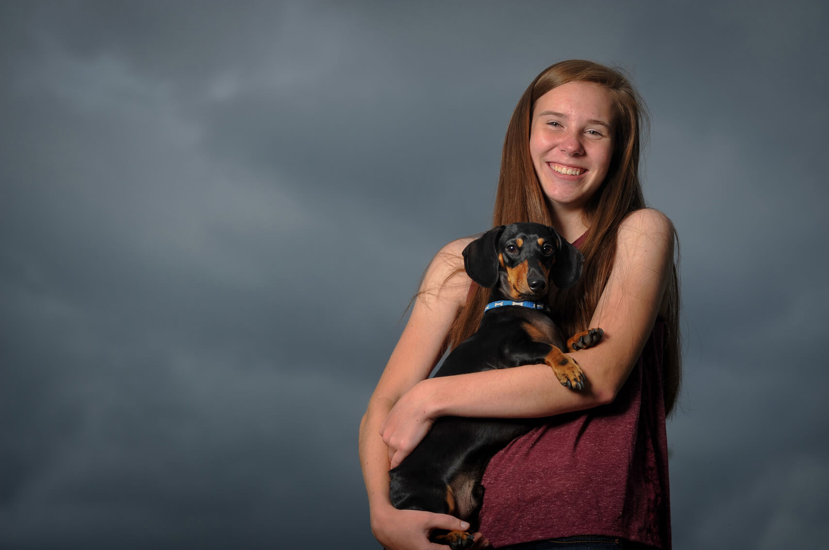 Metro Detroit, Michigan senior photography is all done outdoors, on location which means photographing rain or shine and can create some amazingly dramatic pet photos as well!