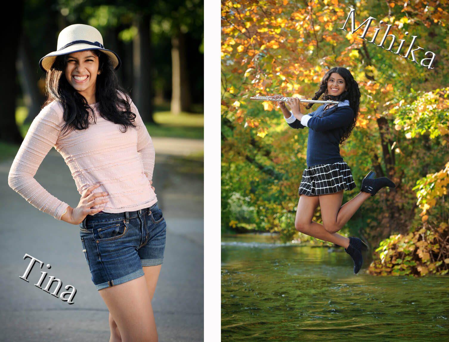 Two Troy, Michigan seniors show off their fun personalities for their senior photos in the Metro Detroit, Michigan area out in nature.