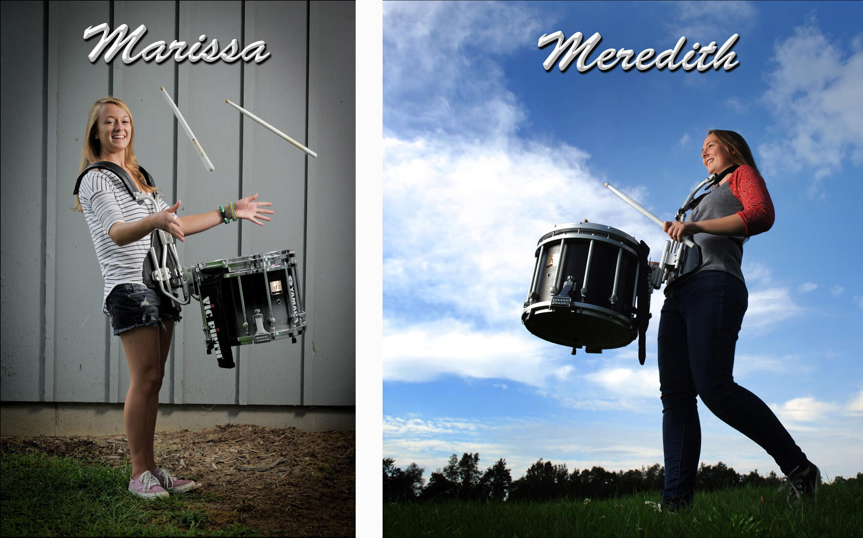 Classic, artistic photography doesn't mean is isn't fun photography. Here are two ways I photographed seniors on the drumline in their respective Michigan high school marching bands.