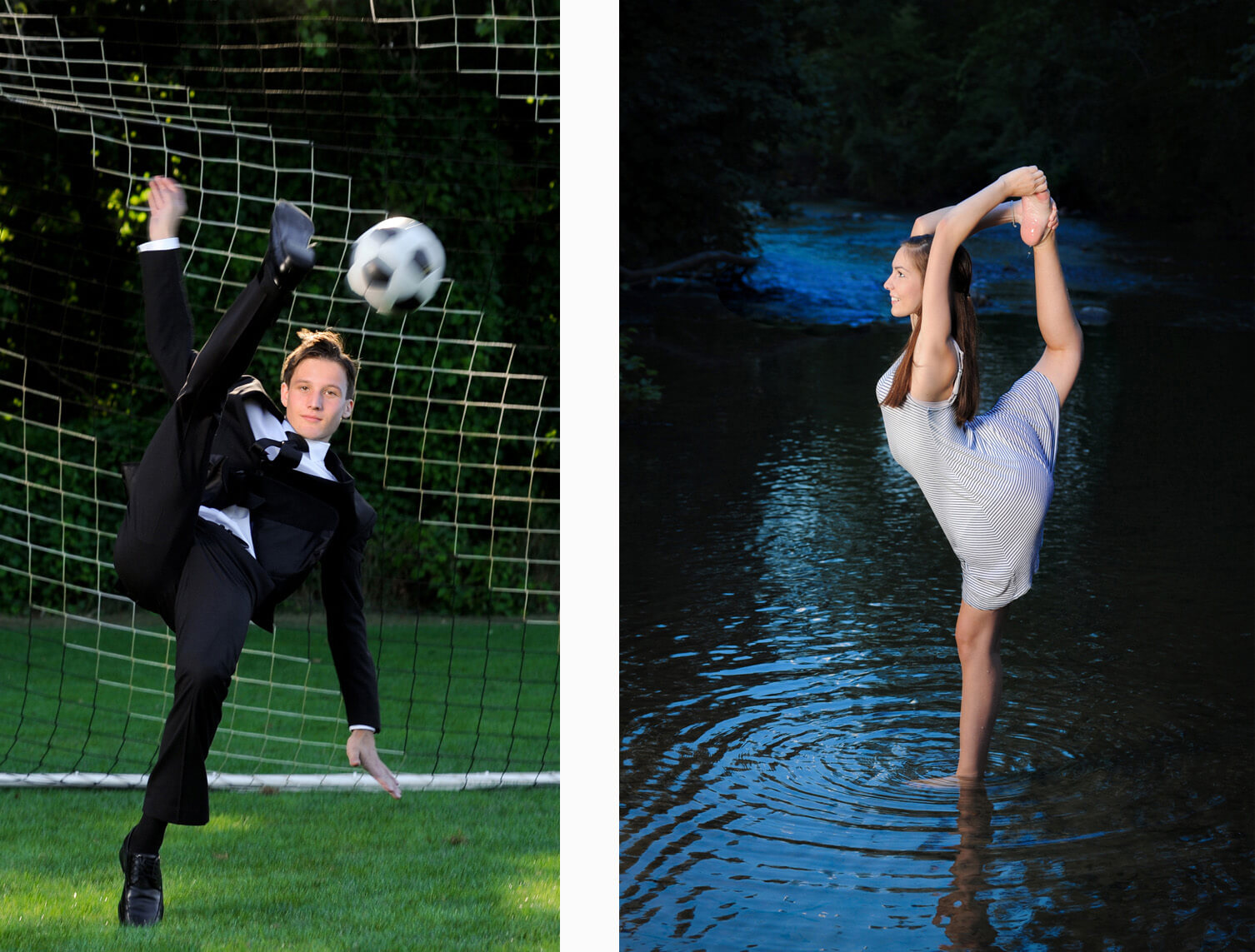 Two athletic metro Detroit, Michigan seniors brought their unique talents to their photo sessions. One is doing his best James Bond goal tending for a unique soccer senior photo and the other is doing a complicated ballet move in a river at dusk!