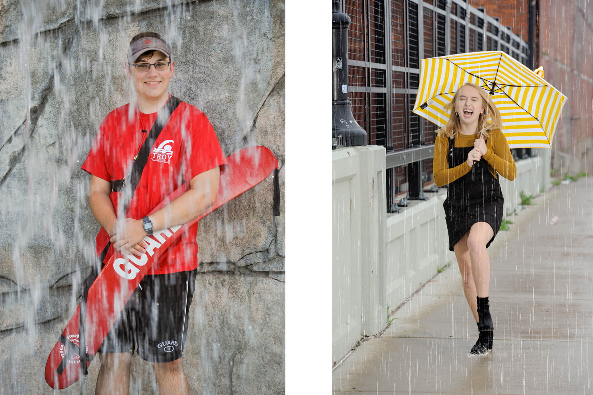 Troy High seniors who lifeguard and who don't mind getting wet for their senior photos downtown Detroit, Michigan.