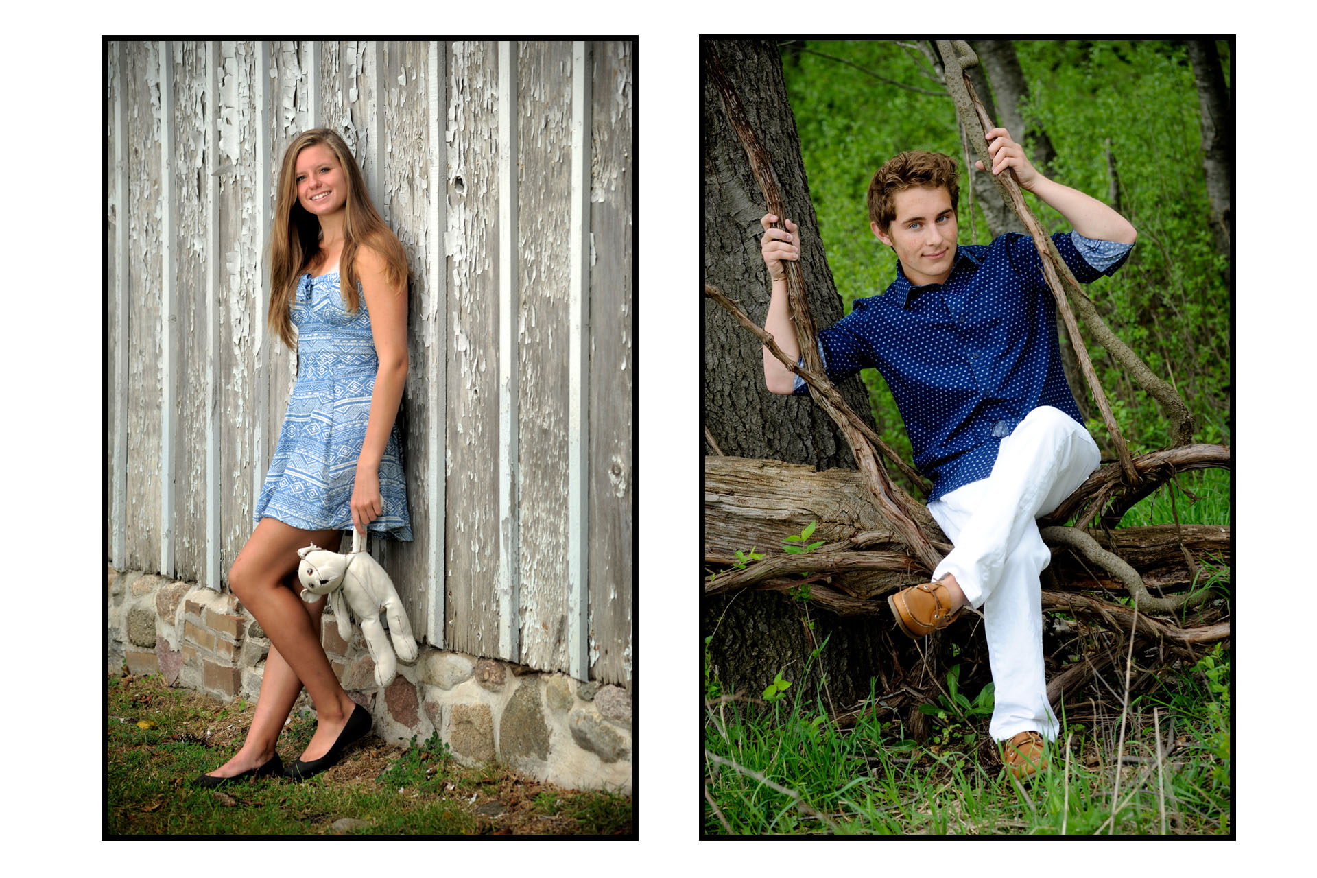 Troy, Michigan seniors photos of high school seniors posing with nearby natural props used on this rural looking location for their senior pictures in Troy, Michigan.