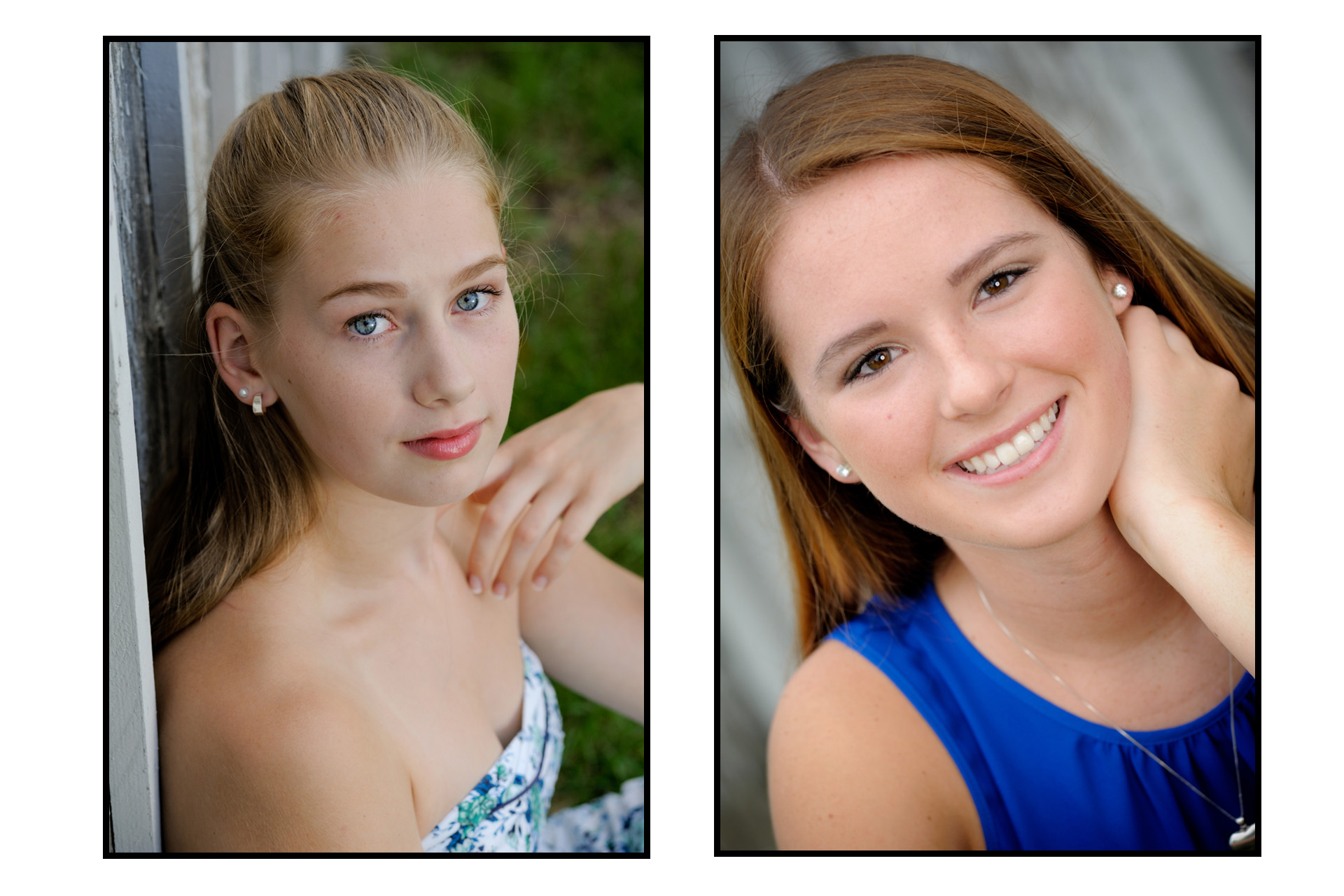 Troy, Michigan senior photographer's photo taken of two different high school seniors who are both gymnasts. I was able to get nice portraits of both girls before starting to take senior photos of them doing their sport in a unique location.